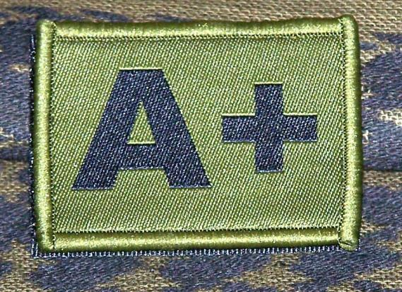 ID Patch Bloodgroup OD Green / Desert with Velcro A Pos