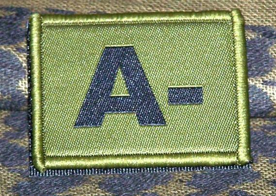 ID Patch Bloodgroup OD Green / Desert with Velcro A Neg