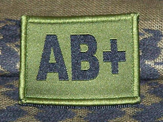 ID Patch Bloodgroup OD Green / Desert with Velcro AB Pos