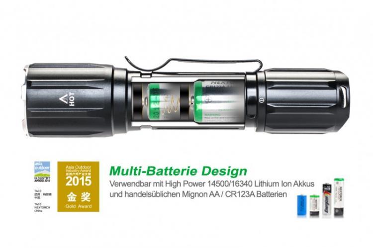 camostore tactical led taschenlampe nextorch ta10 560 lumen multi batterie design 170m. Black Bedroom Furniture Sets. Home Design Ideas